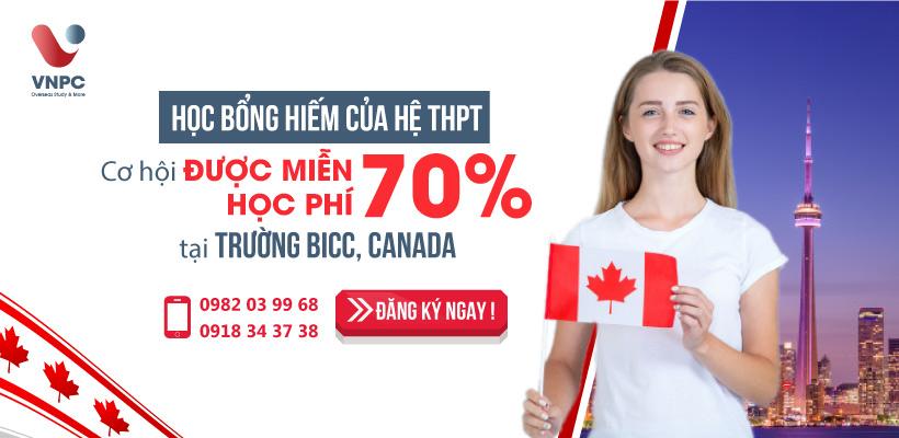 Học bổng hiếm của hệ THPT: Cơ hội được miễn 70% học phí tại trường BICC, Canada