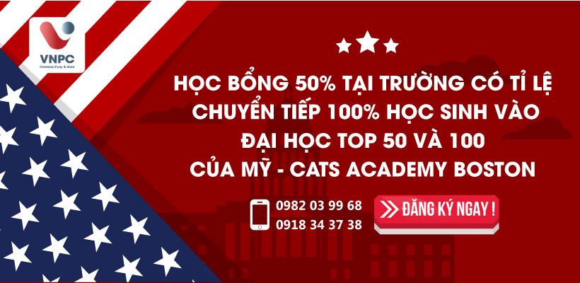 Học bổng 50% tại trường có tỉ lệ chuyển tiếp 100% học sinh vào đại học TOP 50 và 100 của Mỹ - CATS Academy Boston